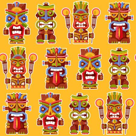 Multi-colored tiki totem poles. Hawaii. Seamless background pattern. Vector illustration Illustration