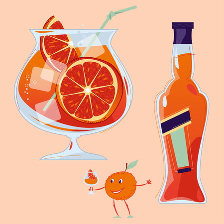 Aperol Spritz cocktail with a slice of orange. Small orange holds a glass with a cocktail. Traditional summer drink. Vector illustration Иллюстрация