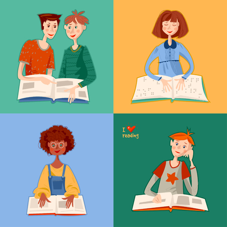 School reading club. Girls and boys reading books. Blind girl reads a book in braille. Literacy Day. Vector illustration