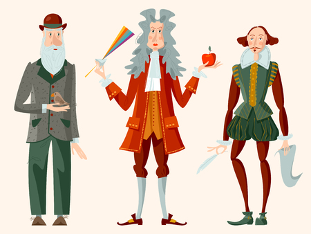 Histoire de l'Angleterre. Des personnes célèbres. William Shakespeare, Isaac Newton, Charles Darwin. Illustration vectorielle.