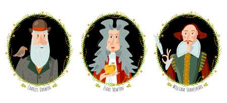 Geschichte Englands. Porträts berühmter Persönlichkeiten. William Shakespeare, Isaac Newton und Charles Darwin. Vektorillustration.