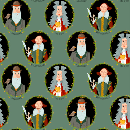 History of England. Portraits of famous people. William Shakespeare, Isaac Newton, Charles Darwin. Seamless background pattern. Vector illustration