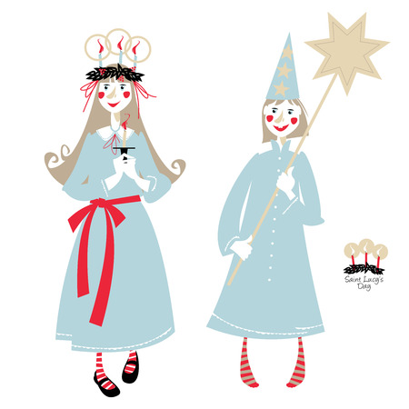 Saint Lucy's Day. St. Lucia procession. Scandinavian Christmas tradition. Vector illustration 일러스트