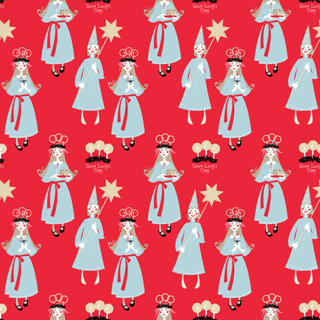 Saint Lucy's Day. St. Lucia procession. Scandinavian Christmas tradition. Seamless background pattern. Vector illustration