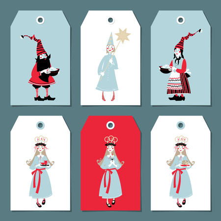 Scandinavian Christmas set: labels, postcard, bookmark, insert. Template. Gnomes with pots of Christmas rice. St. Lucia procession. Vector illustration
