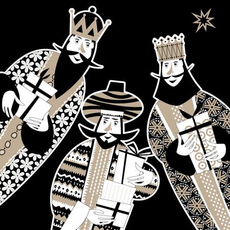 Tres reyes bíblicos: Gaspar, Melchor y Balthazar. Tres reyes magos con cajas de regalo. En blanco y negro. Ilustración de vector.
