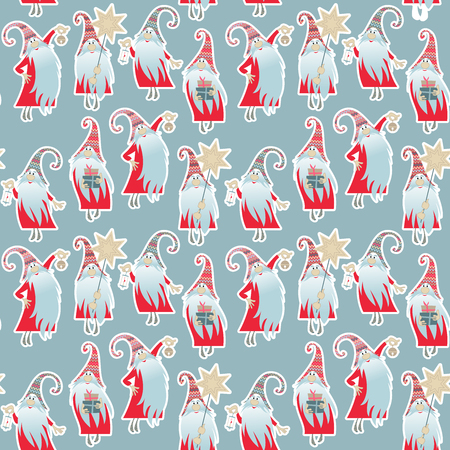 Scandinavian Christmas tradition. Multi-colored gnomes with gifts, a candle, a bell and a Christmas star. Seamless background pattern. Vector illustration.