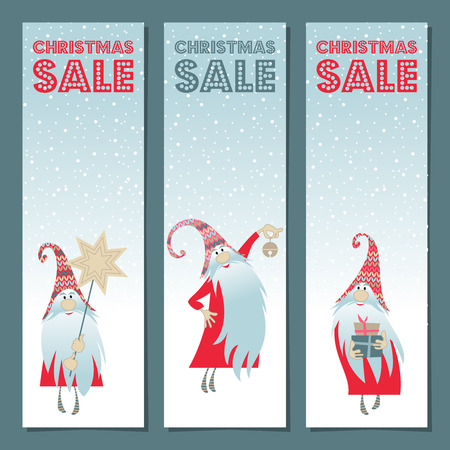 "Scandinavian Christmas tradition. Set of 3 banners with gnomes and ""Christmas Sale"" title. Vector illustration Illustration"