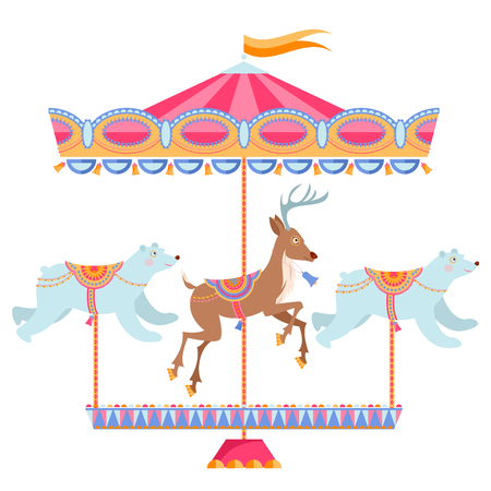 Christmas carousel with deer and polar bears. Vintage christmas merry-go-round. Vector illustration