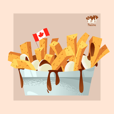 Quisine of Quebec. Poutine: dish consisting of French fries and cheese curds topped with a brown gravy. Vector illustration Archivio Fotografico - 127501979