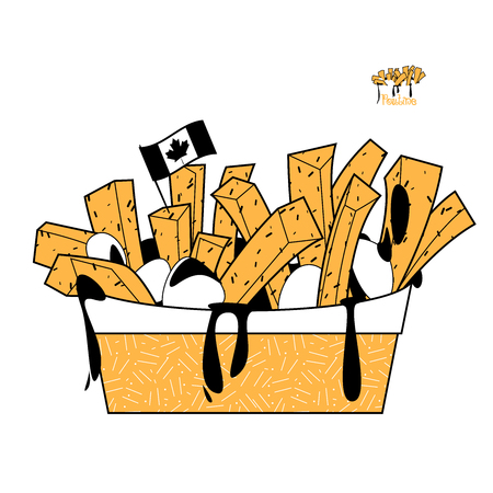 Quisine of Quebec. Poutine: dish consisting of French fries and cheese curds topped with a brown gravy. Black, white and yellow. Vector illustration