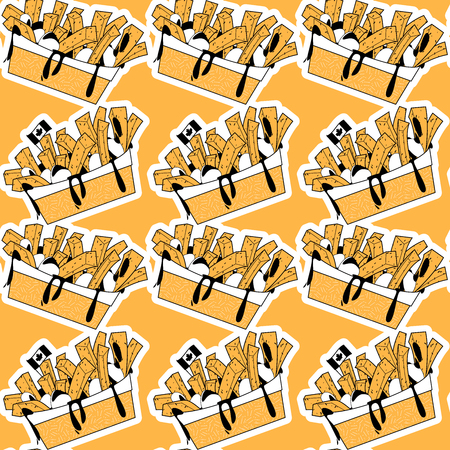 Quisine of Quebec. Poutine: dish topped with french fries and cheese curds. Seamless background pattern. Vector illustration