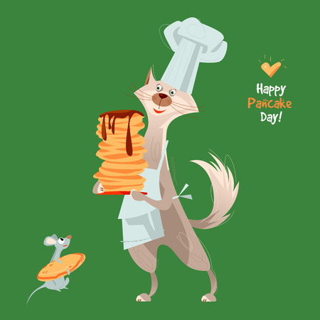Happy Pancake Day! Cute cat holds a stack of pancakes. Vector illustration