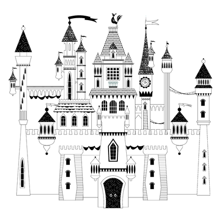 Fairytale medieval castle and fortress. The princess castle. Wonderland. Black and white. Vector illustration.