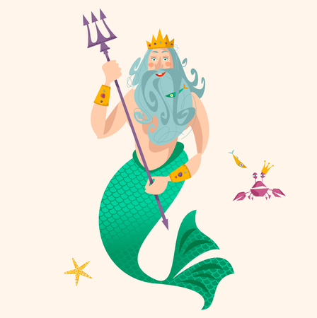 God of freshwater, sea and ocean Neptune (Poseidon). Vector illustration. Vettoriali