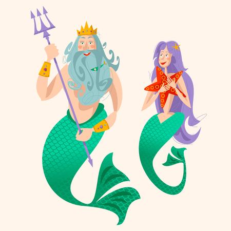 God of freshwater, sea and ocean Neptune (Poseidon) and a mermaid. Vector illustration.