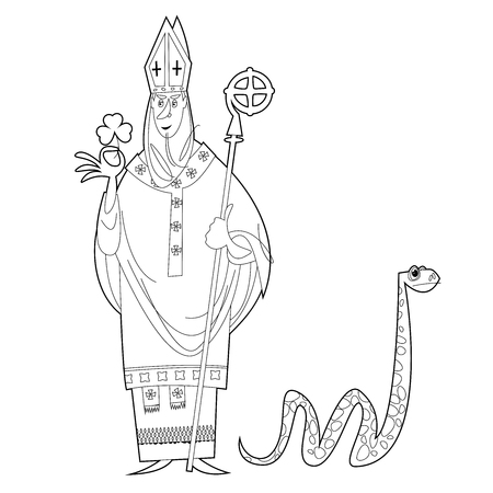 St Patrick (Apostle of Ireland) banishes snakes from Ireland. The patron saint of Ireland. Black and white. Coloring page. Vector illustration