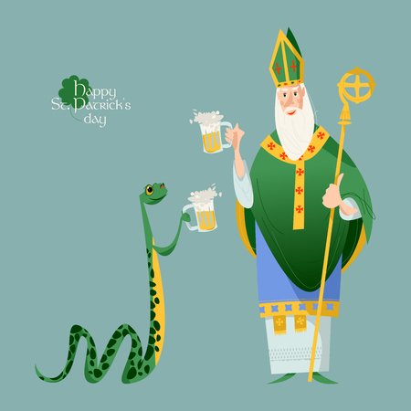 St Patrick (Apostle of Ireland) and a snake holding beer jugs. The patron saint of Ireland and a snake celebrate Saint Patrick's Day. Vector illustration