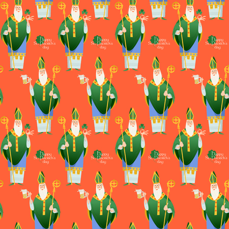 Saint Patrick's Day. St Patrick (Apostle of Ireland), the patron saint of Ireland holding beer jugs and shamrock. Seamless background pattern. Vector illustration