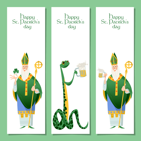 Saint Patrick's Day. Set of 3 banners with St Patrick (Apostle of Ireland) and snake. Vector illustration