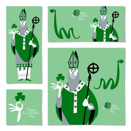 Saint Patrick's Day. Set of 4 universal cards with St Patrick (Apostle of Ireland) and snake. Template. Vector illustration