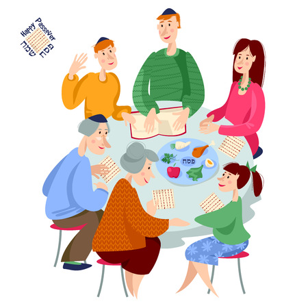 Jewish family celebrates Passover. Reading of the Passover Haggadah. Vector illustration