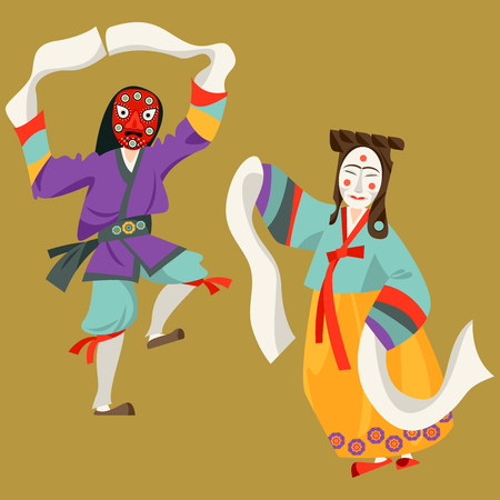 Wooden Hahoe masks (Hahoetal). Traditional ritual Korean mask dance. Vector illustration