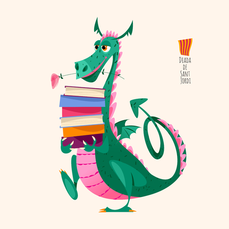 Dragon carries a large stack of books. Diada de Sant Jordi (the Saint George's Day). Traditional festival in Catalonia, Spain. Vector illustration. Vector Illustration