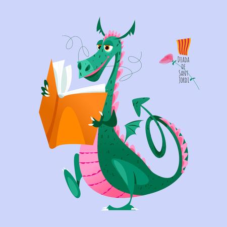 Dragon walks and reeds a big book. Diada de Sant Jordi (the Saint George's Day). Traditional festival in Catalonia, Spain. Vector illustration.