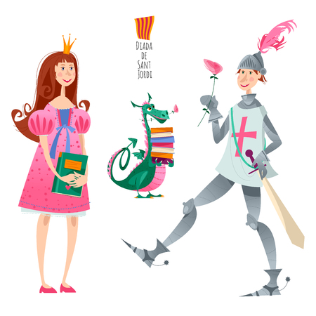 Princess, knight with a rose and dragon with books. Diada de Sant Jordi (the Saint George's Day). Dia de la rosa (The Day of the Rose). Dia del llibre (The Day of the Book). Traditional festival in Catalonia, Spain. Vector illustration.