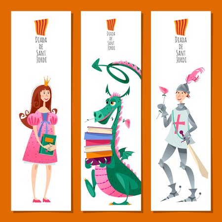 Set of universal bookmarks with princess, knight and dragons. Diada de Sant Jordi (the Saint George's Day). Congratulations. Template. Vector illustration Vector Illustration