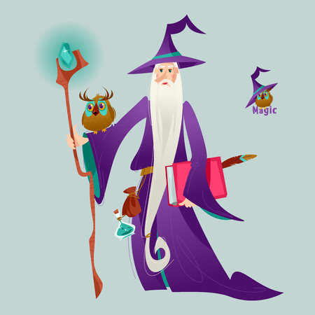 Wizard with a magic stick and an owl. Vector illustration.