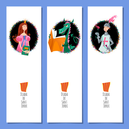 Set of universal bookmarks with princess, knight and dragons. Diada de Sant Jordi (the Saint George's Day). Congratulations. Template. Vector illustration