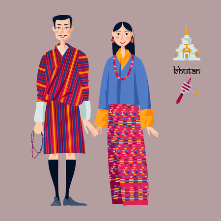 Bhutan. Couple in traditional national clothes. Vector illustration Çizim