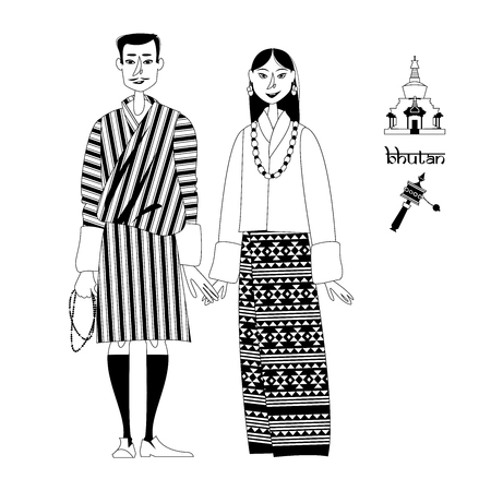 Bhutan Couple in traditional national clothes. Black and white. Vector illustration. Çizim