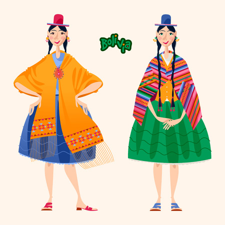Two Bolivian women in traditional clothes. Vector illustration. Иллюстрация