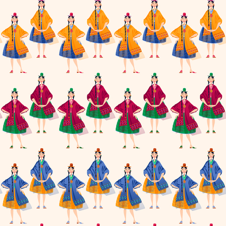 Bolivian women in traditional clothes. Seamless background pattern. Vector illustration. Иллюстрация