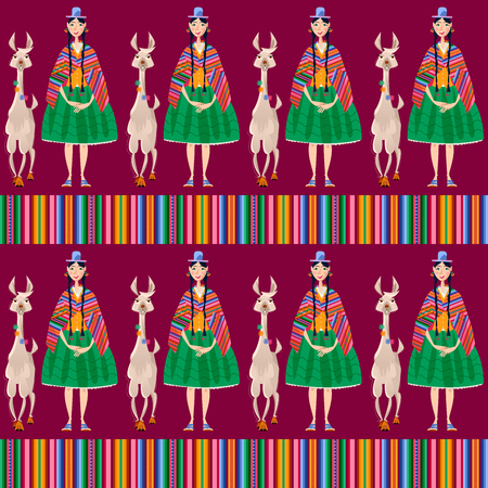 Bolivian woman in traditional clothes and Lama Alpaca. Seamless background pattern. Vector illustration.