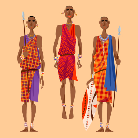 Maasai warriors perform traditional jumping Dance. Vector illustration