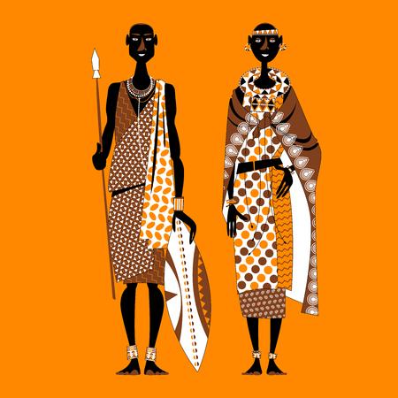 Pareja masai (guerrera y niña) en vestimentas tradicionales. África, Kenia. Ilustración vectorial