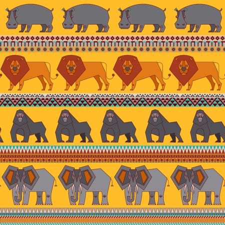Ensemble d'animaux africains. Hippopotame, lion, éléphant, gorille. Style géométrique. Illustration vectorielle