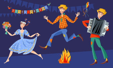 Brazilian holiday Festa Junina (the June party). Couple jumping over the fire, boy with an accordion. Vector illustration