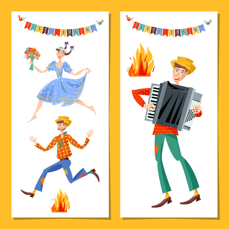 Two greeting cards. Brazilian holiday Festa Junina (the June party). Couple jumping over the fire. Boy with an accordion. Vector illustration