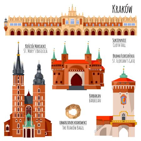 Sites touristiques de Cracovie, Pologne. Halle aux draps, porte Saint-Florian, basilique Sainte-Marie, barbacane. Illustration vectorielle.