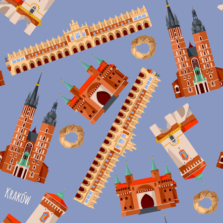 Sights of Krakow, Poland. Cloth Hall, St. Florian's Gate, St. Mary's Basilica, Barbican. Seamless background pattern. Vector illustration.  Illustration