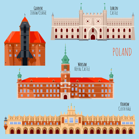 Sights of Poland. Krakow, Cloth Hall, Lublin, Castle, Gdansk, Crane, Warsaw, Royal Castle. Vector illustration. 向量圖像