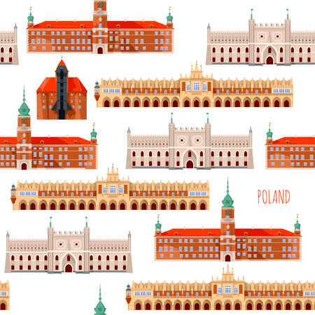 Sights of Poland. Krakow, Cloth Hall, Lublin, Castle, Gdansk, Crane, Warsaw, Royal Castle.  Seamless background pattern. Vector illustration.