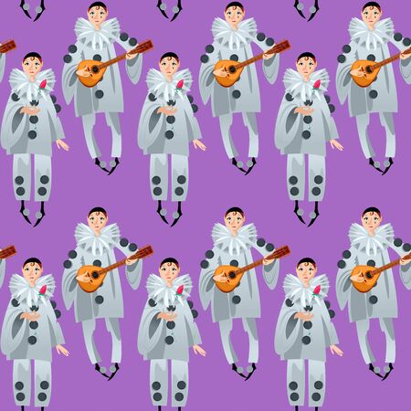 Pierrot playing mandolin and Pierrot with a rose. Сharacter of the Italian commedia dell'arte.  Seamless background pattern. Vector illustration.