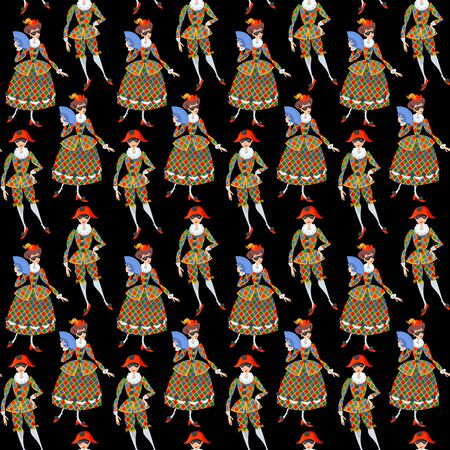 Harlequin and Columbina. Characters of Italian commedia dell'arte. Seamless background pattern. Vector illustration.