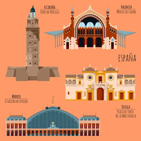 Sights of Spain. Madrid, Railway station Atocha, A Coruna, Tower of Hercules, Seville, Bullring Maestranza, Valencia, Columbus Market. Vector illustration.